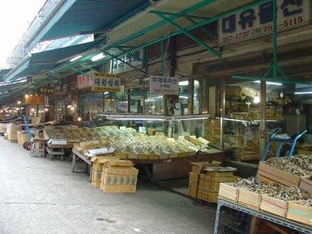Marché de poissons en Corée